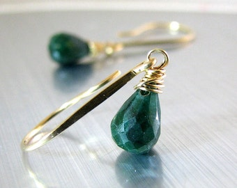 Emerald Earrings, Natural Emerald Earrings, Gold Earrings, Natural Emerald Gemstone, May Birthstone - Petite Spring