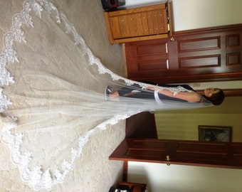 Elizabeth's Reembroidered Lace Cathedral Veil