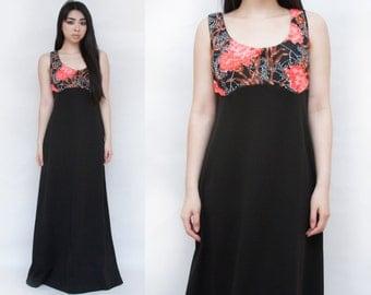 SALE Vintage Handmade Floral Polyester Maxi Dress L XL 1960s