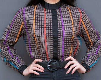 1990s Geometric Multicolor Button Up High Neck Blouse