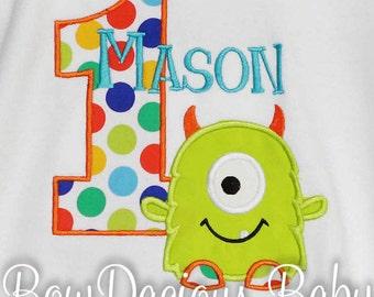 Monster Birthday Shirt, Number, Monogrammed, Appliqued, Custom Fabric, Girls Birthday Shirt, Shirt, Tank,Bodysuit,Romper, Gift