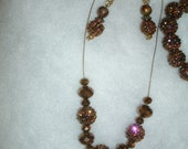 Copper Iridescent Studded Beaded EarBobs on Goldtone french hooks