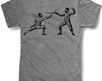 FENCING SWORDS Mens t shirt -- 8 color options -- sizes sm med lg xl xxl skip n whistle