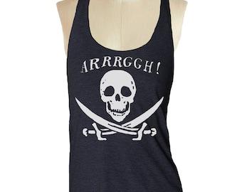 Pirate Skull Tank top --- women's racerback tank shirt Tri-Blend   S M L (8 Color Options) skip n whistle