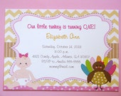 NEW Thanksgiving Turkey Fall Baby First Birthday or Baby Shower Invite Invitation