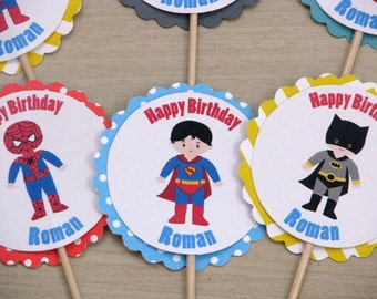 Superhero Cupcake Toppers Superhero Birthday Party -24 Cupcake Toppers