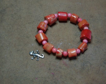 AAA  Orange Coral Branch Slices Stretchy Bracelet