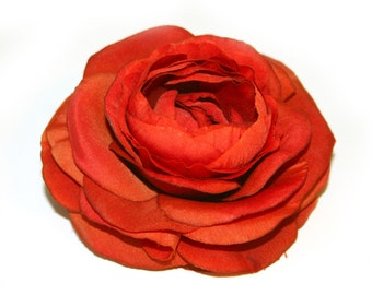 1 Deep Orange Bontanical Silk Ranunculus - Artificial Flowers, Silk Flower Heads - PRE-ORDER