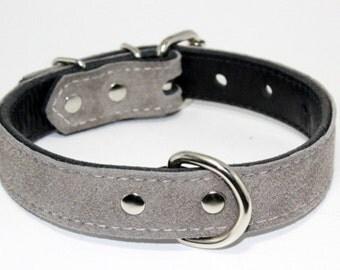 "Leather Suede Grey Dog Collar - "" Light Grey Suede Leather Dog Collar - Leather Dog Collar - Grey Suede Leather Collar - Leather Grey Collar"