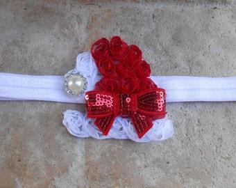 Christmas Red and white Santa hat  flower headband bow holiday newborn-toddler-girls