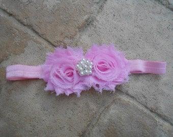 Light pink shabby flower  headband with gorgeous rhinestone newborn-toddler-girls