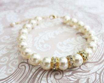 Gold Cream Swarovski Pearl Bracelet, Crystal, Custom Sizing, Gifts for her, Champagne Bridesmaid bracelet, Flower Girl simple pearl