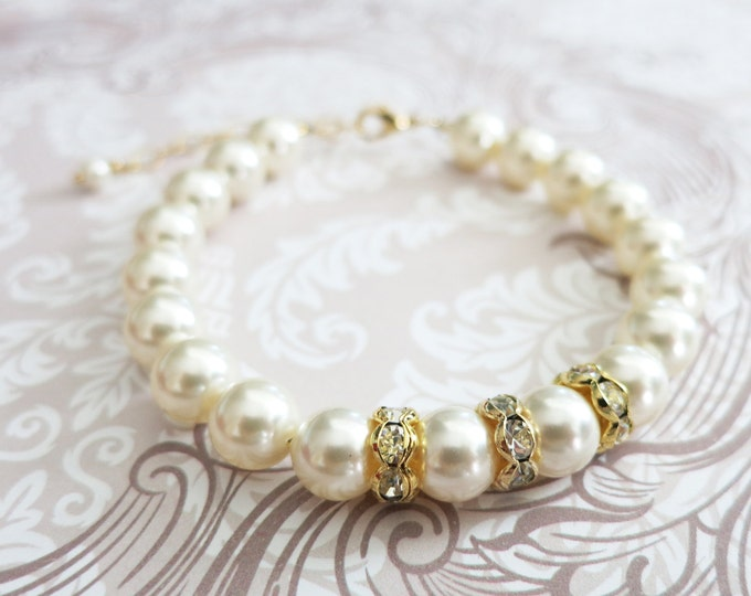 Gold Cream Swarovski Pearl Bracelet, Crystal, Custom Sizing, Gifts for her, Champagne Bridesmaid bracelet, Flower Girl simple pearl