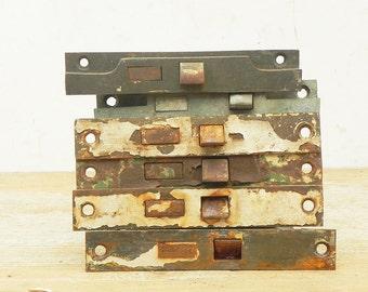 6 Salvaged Vintage Door Lock Mechanism Hardware Repurpose Steampunk Assemblage Supply