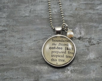 Vintage Dictionary Word Necklace Pendant COFFEE