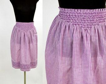 Vintage apron gingham apron purple white cross stitched smocked half apron 1950s