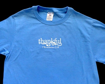 THANKFUL Blue Shirt Size Small Ready to Ship
