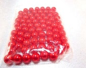 Fire Red Pearls, Lucite, 6 mm, 100 pieces