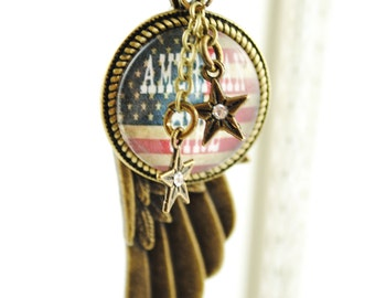 American Girl Women's Necklace, American Flag Necklace, Freedom Necklace, Rustic Country Jewelry, Stars and Stripes, Fourth of July