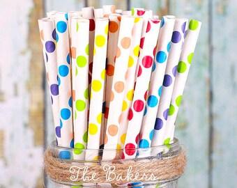 Boys Rainbow Paper Straws, Polka Dot Paper Straws, Cake Pop Sticks, Rainbow Party Straws, Drinking Straws, Party Straws (30)