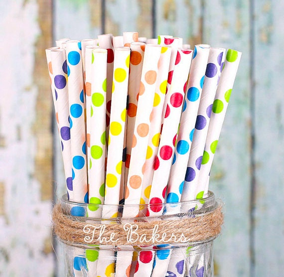 Boys Rainbow Paper Straws, Polka Dot Paper Straws, Cake Pop Sticks, Rainbow Party Straws, Drinking Straws, Party Straws (30)