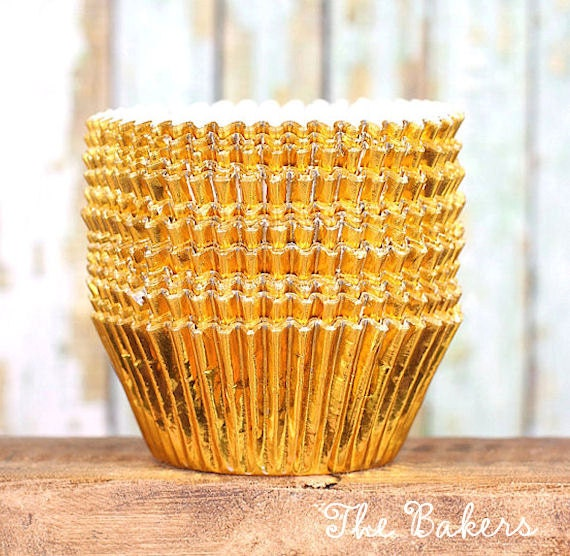 Gold Foil Cupcake Liners, Gold Wedding Cupcake Liners, Foil Baking Cups, Gold Foil Muffin Cups, Christmas Cupcake Liners (50 count)