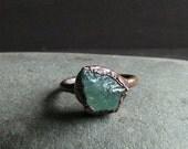 Raw Aquamarine Ring Rough Stone Jewelry Raw Crystal Copper Aquamarine Ring Copper Gemstone Ring Size 6.5 Ring March Birthstone