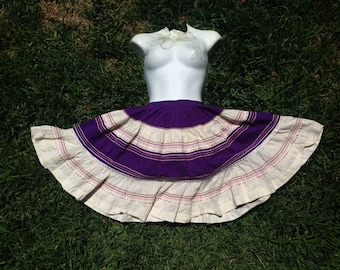 Vintage 1950's Rockabilly Cotton Circle Mexican Skirt Square Dance Ric Rac