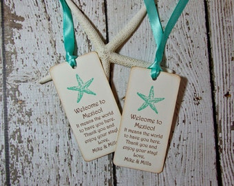 Teal Starfish Beach Wedding Welcome Gift Tags - set of 100, Robin's Egg Blue Tags