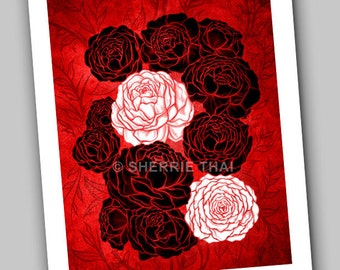 Red, Black and White Peony Flowers Illustration, Asian Gothic Art Print, Sale