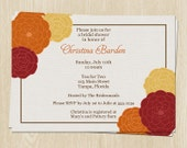 Floral Bridal Shower Invitations, Flowers, Red, Yellow, Orange, Fall, Set of 10 Printed Cards, FREE Ship, WFCPG, Floral Cluster Autumn