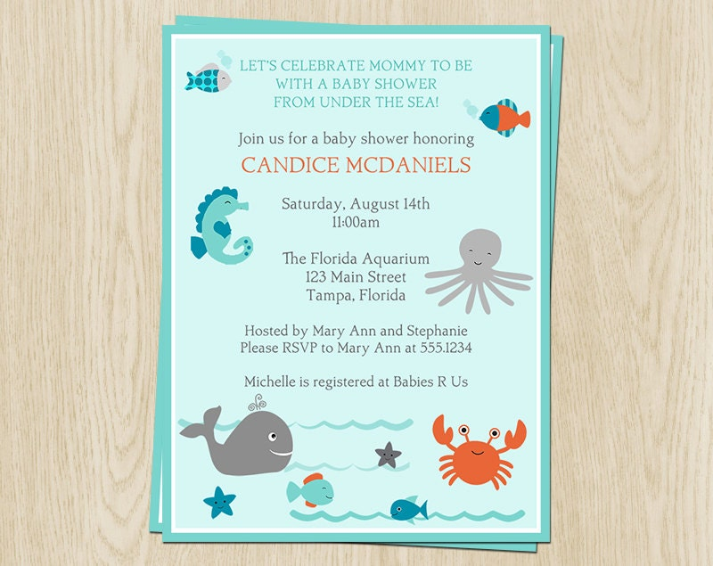 under the sea baby shower invitations unisex blue aqua, Baby shower invitations