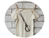 Banjo Baby Onepiece, Hand Printed Cotton Infant Clothing, Baby, Bluegrass Music, Musician Shower Gift, Natural Ivory Cream