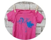 Pegasus Baby Onepiece Bodysuit, Short Sleeved Shirt, Hot Pink, Hand Printed, Unicorn With Wings Pegacorn Fantasy Animal Little Girls Clothes