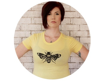 Bee Tshirt, Ladies Fitted Graphic Tee, Honey Bee, Nature, Garden Insect, Pastel Butter Yellow, Junior Fit, Hand Printed, Women's Clothing