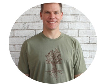 Men's Tree T Shirt, Cotton Crewneck Graphic Tee, Light Olive Drab, Nature Tshirt, Short Sleeved, Gift for Man, Autumn Leaves