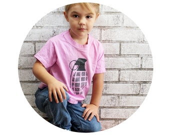 Childrens Grenade Tshirt in Pink, Cotton Crewneck Toddler Graphic T Shirt, Tee Shirt, Light Pink, Short Sleeved, Military, War, Apocalypse