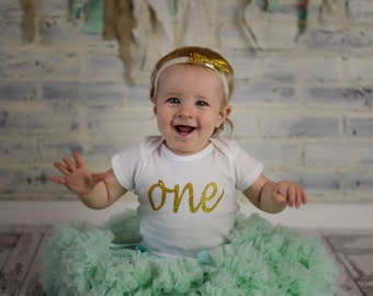 """Gold Glitter Iron-On vinyl cursive """"one"""" lettering for yearly, monthly, or birthday onesie- Lettering ONLY (First Class Shipping Rate)"""