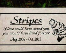 """Free Shipping- Cat Memorial Plaque - 12x6  """"Stripes"""" Design -  Italian Porcelain Personalized  Sandblasted Engraving"""