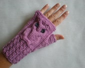 Hand-knitted lilac color wrist warmers with knitted owl
