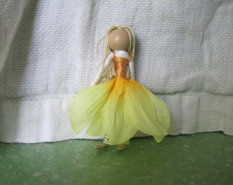Waldorf Flower Fairy Doll - Golden Yellow - Mother Nature Art Doll, Worry Doll, Faery, elemental
