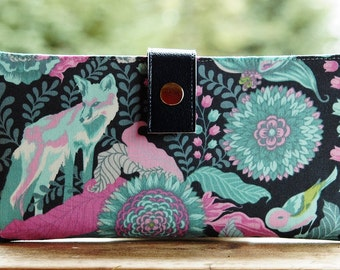 Wallet clutch womens   Bi fold wallet handmade clutch fox