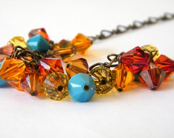 Colorful Swarovski Necklace, Swarovski Crystals, Autumn Necklace, Fall Necklace, Colorful Necklace