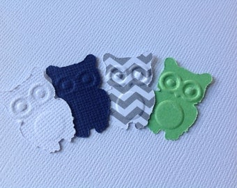 50 pc  Paper Owls  Greys  Whites Blues Lime Green  Shower Decorations   Scrapbooking Pages   Party
