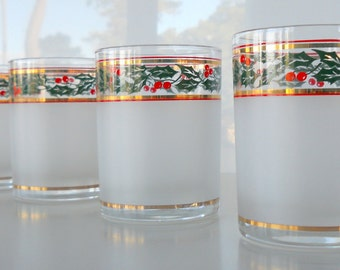 Vintage Culver Holly Garland Set of Four Double Old Fashioned Glasses