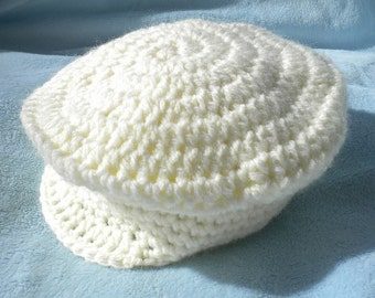 Crocheted Infant Newsboy (Scully) Cap 6 12 mo