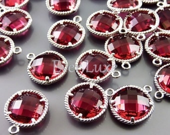 2 ruby pendant jewelry findings / red glass stone beads for ruby earrings & ruby necklace 5128R-RU