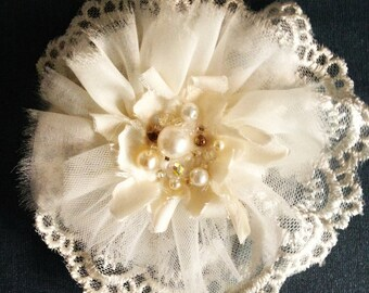 Isobella Flower Hairclip Headband with Lace, Silk Tulle Silk hand beaded crystals pearls. Flowergirl, bridesmaid, wedding