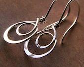 Double Hoop Earrings, Sterling Silver, Hammered Metalwork Artisan Jewelry
