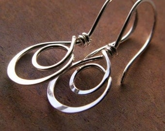 Double Hoop Earrings, Sterling Silver, Hammered Metalwork Artisan Jewelry